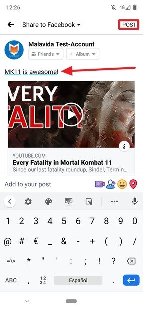 Modification d'un Post sur Facebook