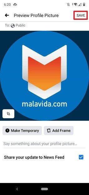 Modification de l'image du profil