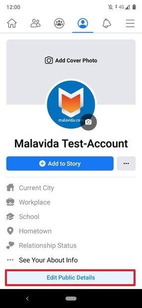 Modification des informations publiques de l'utilisateur