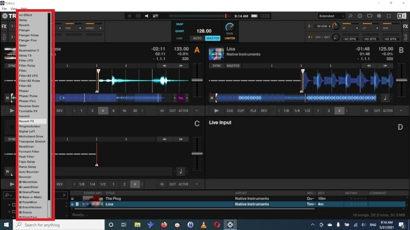 Effects available in Traktor