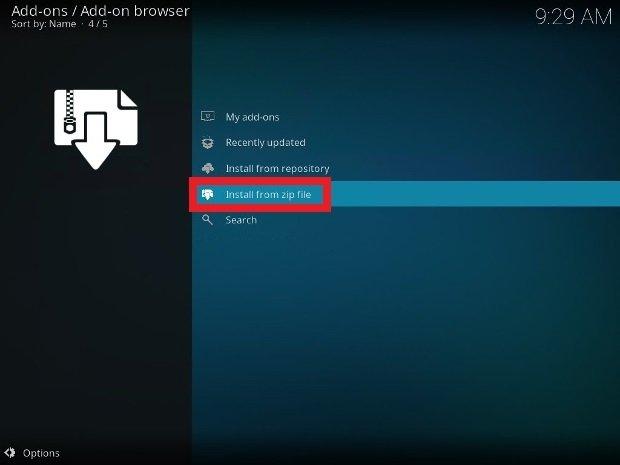 Elije la opción para instalar desde un archivo ZIP