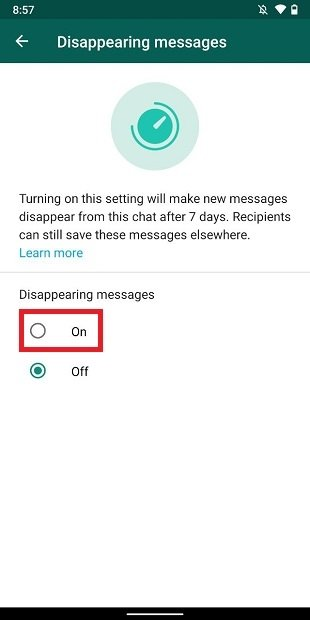 Enable disappearing messages