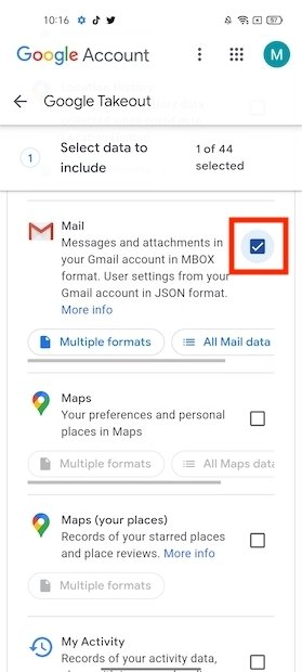 Activar la exportación de Gmail