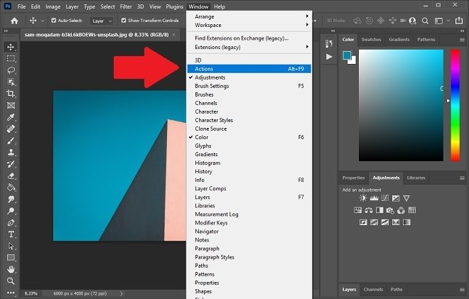 Enable Photoshop actions