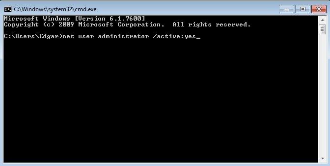 Activar cuenta de administrador mediante la consola de comandos