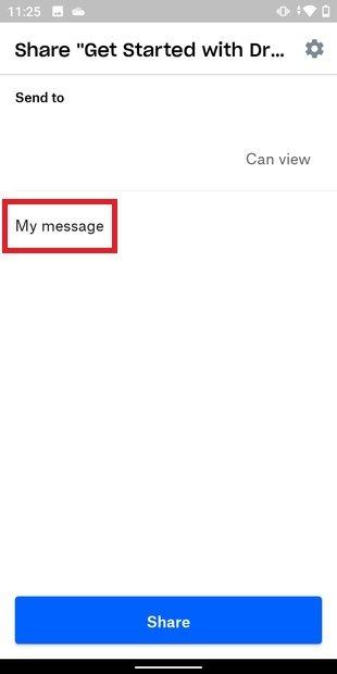Introducir mensaje para compartir archivo