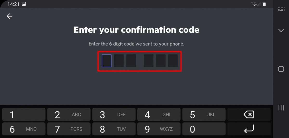 Enter the 6-digit code you have just received by SMS