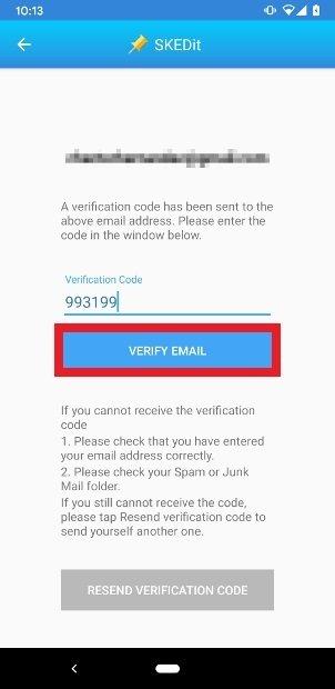 Introduce el código y pulsa sobre Verify Email