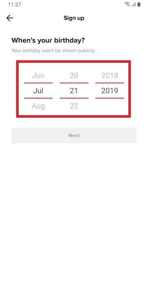 Indicar fecha de nacimiento