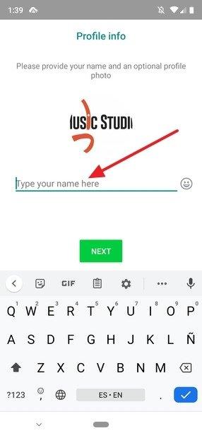 Inserimento del nome utente