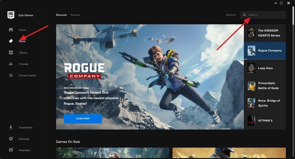 Epic Games Store instalada