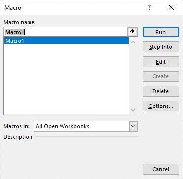 Opciones de macros existentes