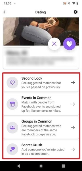 Facebook Dating's extra options