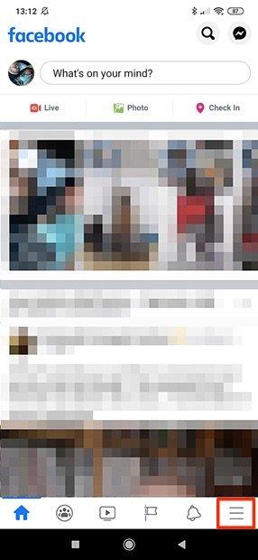 Interface principal do Facebook