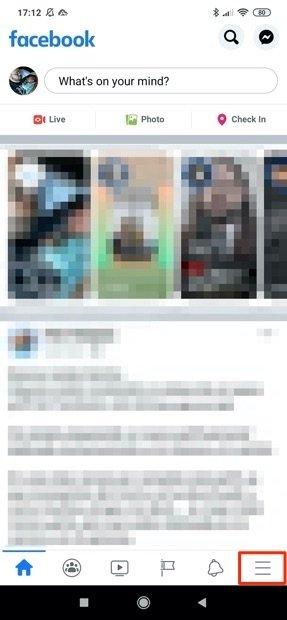 Vista principal de Facebook