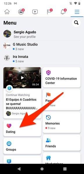 Facebook-Menü