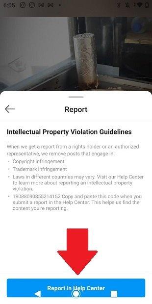 Enviar la denuncia a Instagram