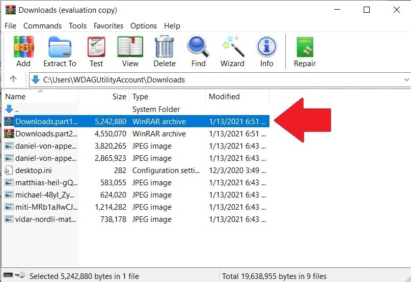 Find the file from WinRAR