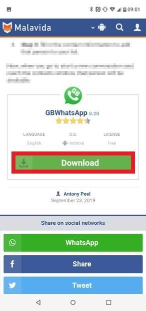First button to download GBWhatsApp
