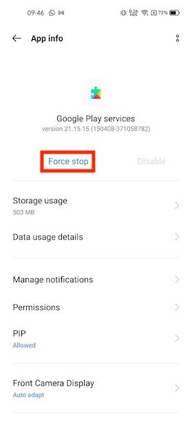 Forzar salida de Google Play Services