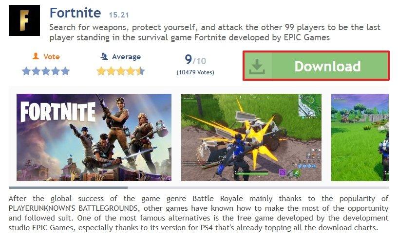 Página de Fortnite en Malavida