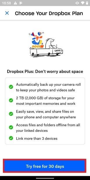 Prueba gratuita del plan de pago de Dropbox