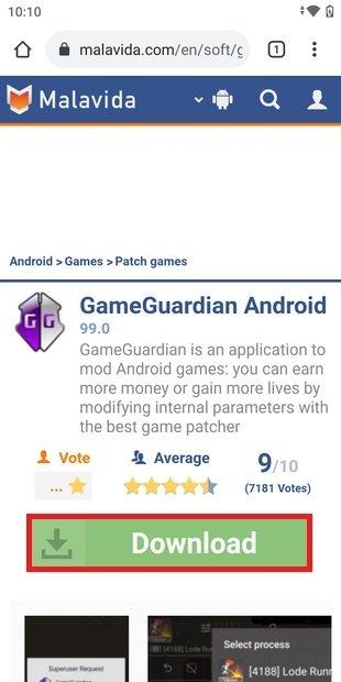 Página de GameGuardian en Malavida