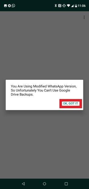 GBWhatsApp no puede importar copias de seguridad de Google Drive