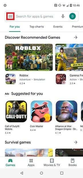Accédez au menu de Google Play