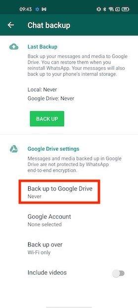 Opzioni del backup in Google Drive