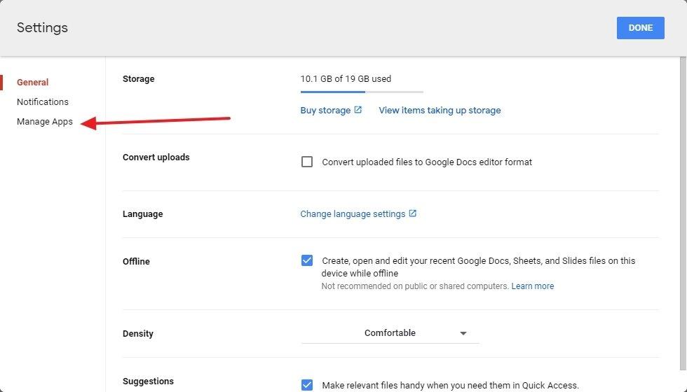 Google-Laufwerk-Einstellungen