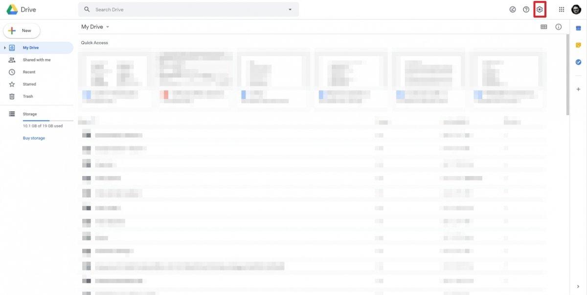 Google Drive Einstellungs-Rad