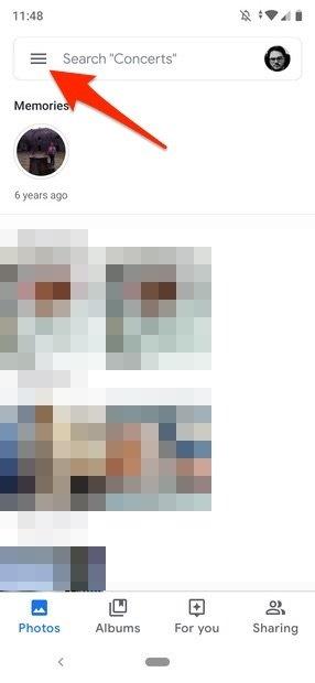 Vista principale di Google Foto