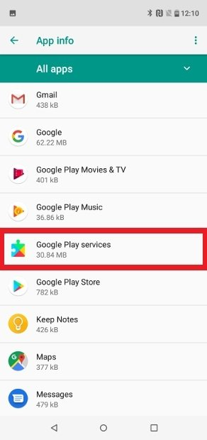 Google Play Services visible en la lista de apps instaladas