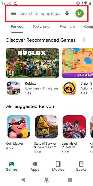 Página principal de Google Play
