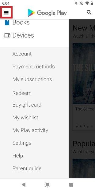 Menú de Google Play