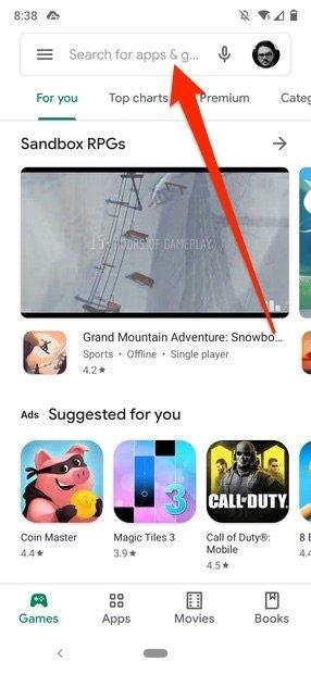Barra de búsqueda de Google Play