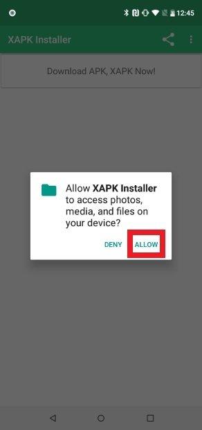 Outorgue as permissões para XAPK Installer