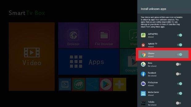 Autoriser le navigateur web à installer des applis
