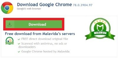 Green Download button to download Chrome's installer