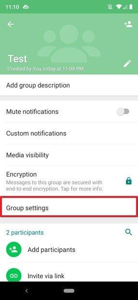 Información del grupo