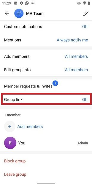 Link der Gruppe