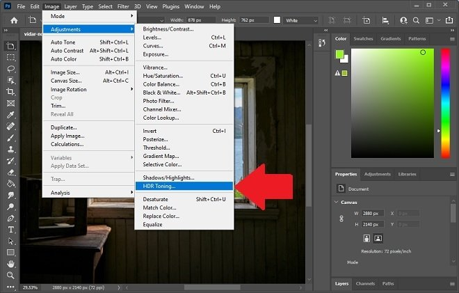 HDR option in Photoshop