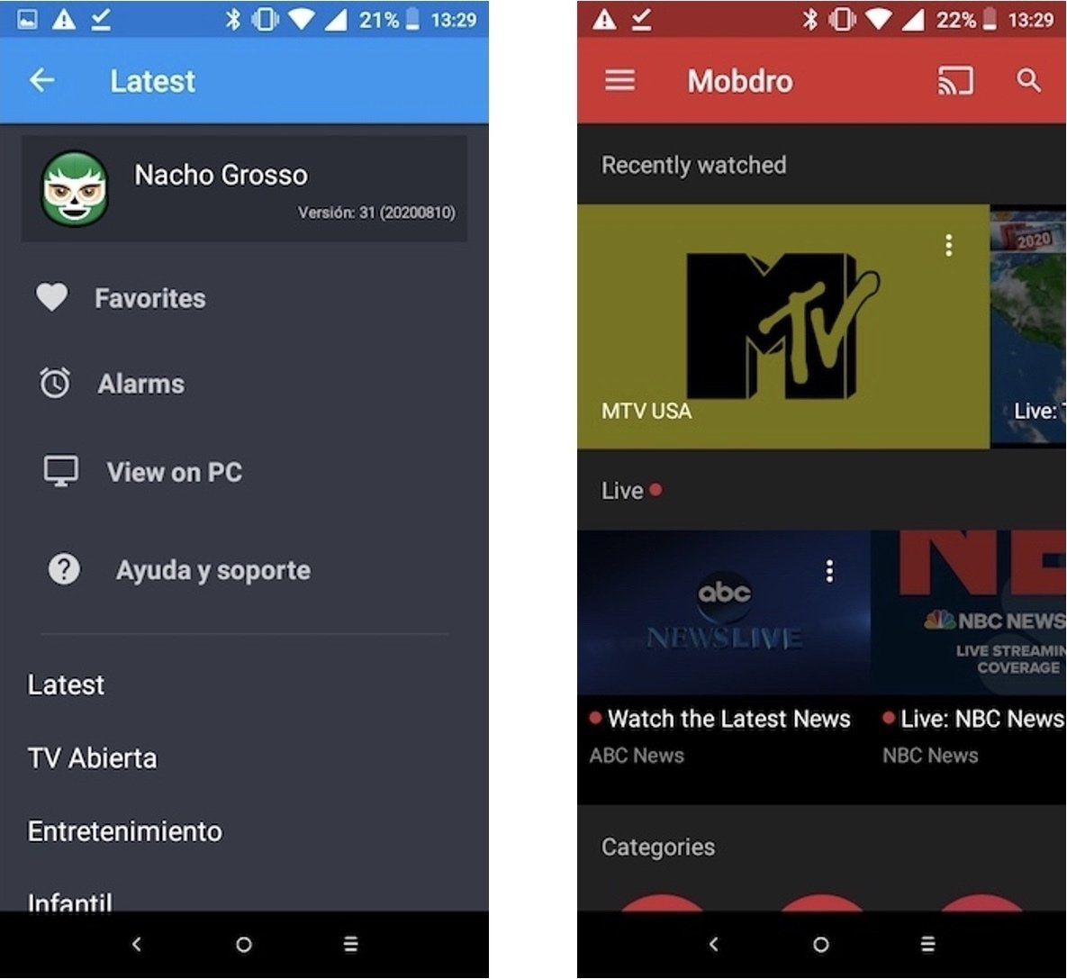 Pantalla inicio apps You TV Player y Mobdro
