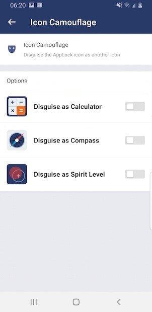 Iconos disponibles para ocultar AppLock