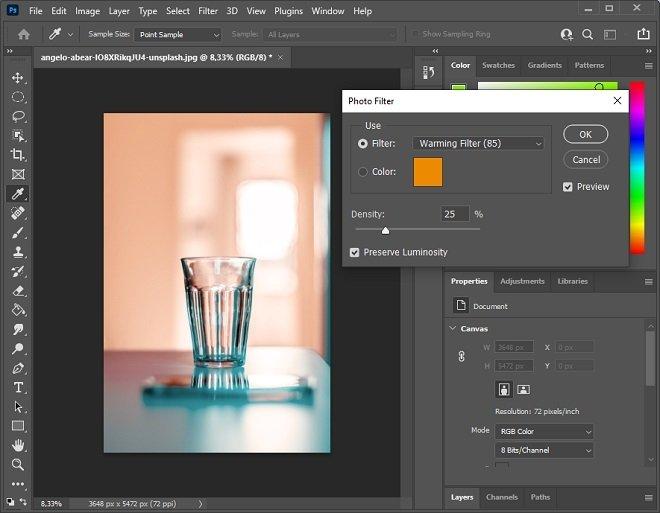 Image filter panel