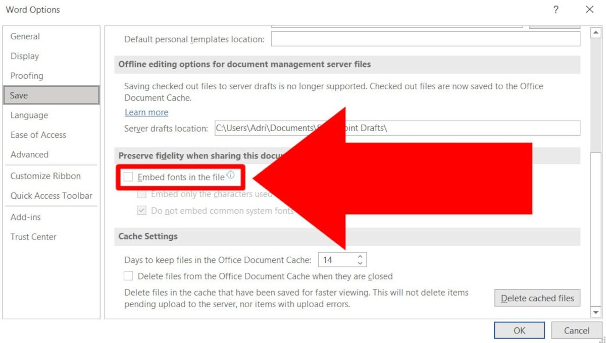 In Preserve fidelity when share this document uncheck Embed fonts in the file
