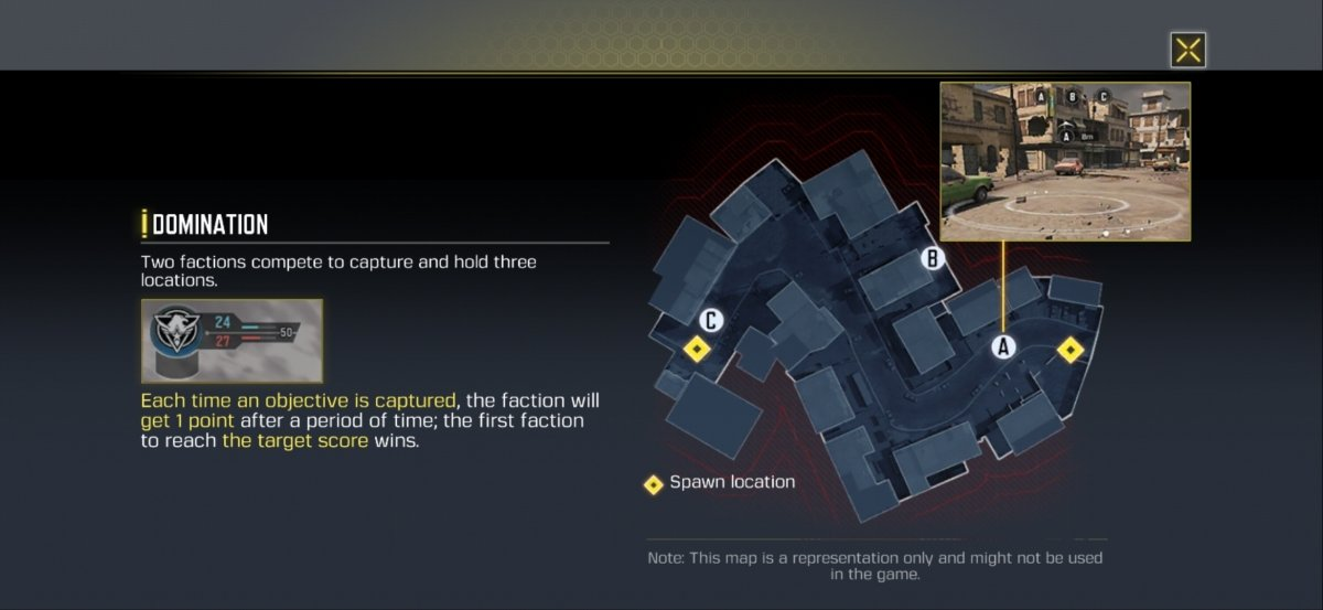 In the Domination mode you have to occupy three areas of the map