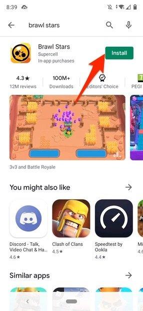 Instalación de Brawl Stars en Google Play