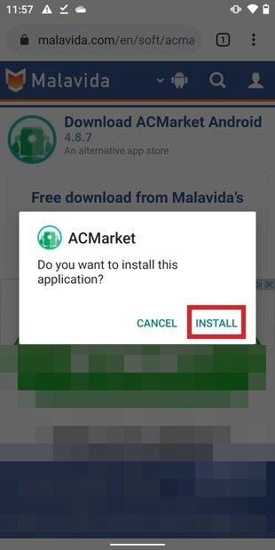 Installation de l'application sous Android